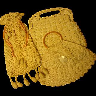 THREE!  Vintage 1920's Purses Crochet - Celluloid Trim