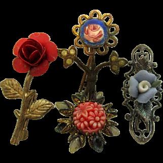 Four Vintage Pins For Antique Dolls