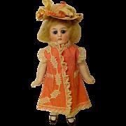 ALL BISQUE Antique German Mignonette GLASS eyes  Silk Dress