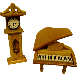Piano and Clock For Your Doll House - Wooden