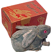 Old Windup Tin Toy Bunny - Jumps - In Original Box - Made In Occupied Japan - Glass eyes