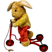 Chiltern Rabbit On Scooter Mechanical Pull Toy Stuffed Animal Glass Eyes