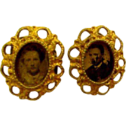 Tiny Tin Type Photos Ormolu Frame