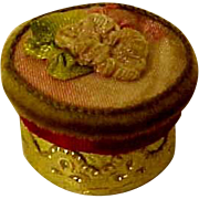 Fabulous Tiny Doll Powder Box  Silk and Flowers