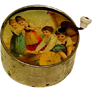 """Antique French Toy Musical """"Manneville"""" Wind Crank Children Playing"""