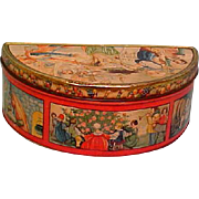 Fabulous!  1920's Christmas Tin Container Box Many Vivid Scenes