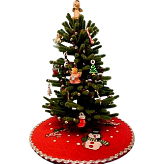 Tiny Christmas Tree  With Many Ornaments For Doll House
