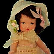 Earliest Nancy Ann Storybook Japan Mold, Sticker on Dress