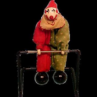 Antique Heavey Metal Toy Clown Acrobat Silk Costume