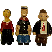 Vintage Wooden Toy Walking Dolls: Popeye, Wimpie, Olive Oyle