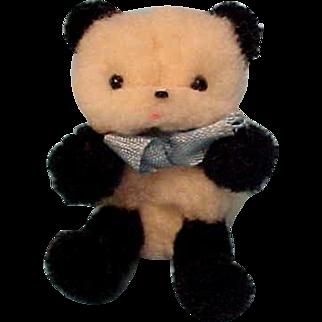 Tiny Fuzzy Panda Bear Very Clean With Original Ribbon