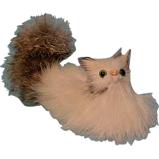 Long Real Fur Angora Cat Glass Eyes