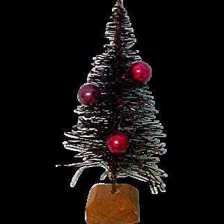 "Vintage Christmas Tree-Brush-Heavily Painted 10.5"" Tall"