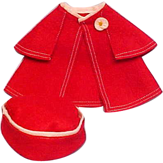 Red Felt Coat ~ About Patsy Doll Size