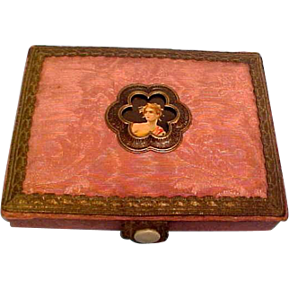 Antique Victorian Small Wood & Fabric Box