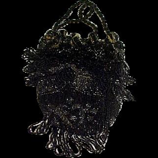 Vintage Black HEAVILY beaded Purse