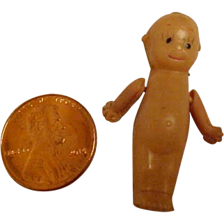 """Antique Celluloid Qupie Doll  ONLY 1 1/4"""" Tall!"""