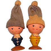 1950 Wooden Egg Holders With Knitted Hats to Keep Your Eggs Warm