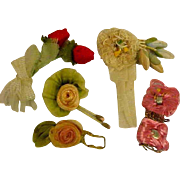 Antique Silk Flowers Very Small For Doll Dresses