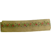 Antique Insertion Trim W/Embroidered Flowers On Fine Cotton