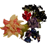 3 Bunches Vintage Velvet & Silk Flowers