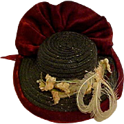 Vintage Straw Hat For Small Doll