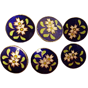 Set of 6 Small & Set of 6 Large 1950's Cloisonne Buttons From Japan