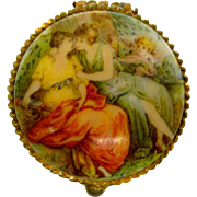 Small Victorian Ormalu and Porcelain Box For Your Doll