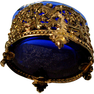 Antique Small Cobalt Blue Glass In Ormalu Container
