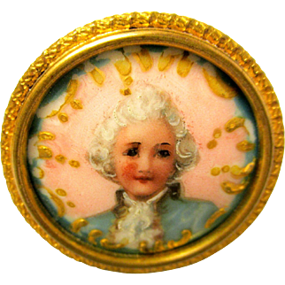 Antique Small Enamel Photo In Frame With Gold Highlights