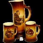 Antique MONK Tankard With Matching Mugs - Rare Set