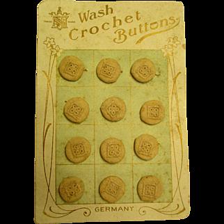 Wonderful OLD Crochet Cloth Buttons Still On Card