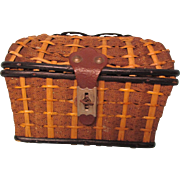 Antique Wicker Presentation Box WITH ACCESSORIES From France