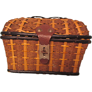 Antique Wicker Presentation Box From France