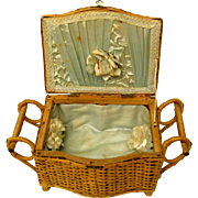 Vintage Wicker Box For Doll Items Or Presentation