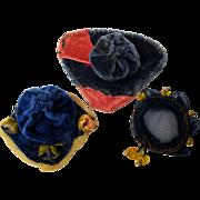 Vintage Velvet Hats For Mignonette Dolls