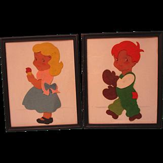 Vintage Felt Pictures Children Original Frame