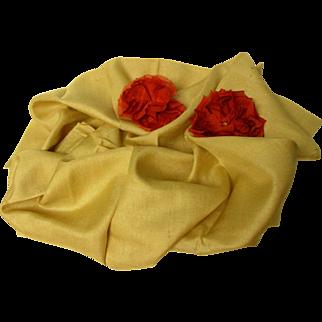 Large Piece SILK Vintage Fabric- Large Piece -Very Fine Weave