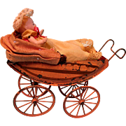 Vintage Metal Buggy With Bisque Baby
