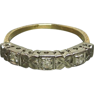 Art Deco C1930 18K Three Diamond Wedding Band