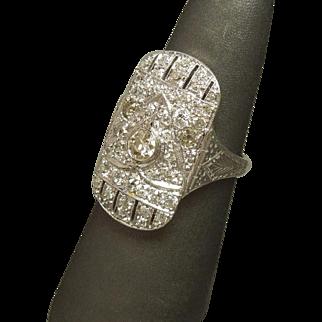 Egyptian Motif Art Deco C1920 2.10TCW Platinum Old cut Diamond Shield Ring