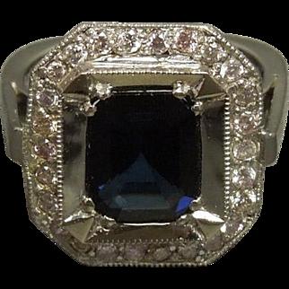 Elegant Vintage Platinum Emerald cut Sapphire & Pink Diamond Engagement Ring