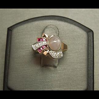 Art Deco C1940 14K Rose Gold Lavender Star Sapphire, Ruby & European Diamond Ring