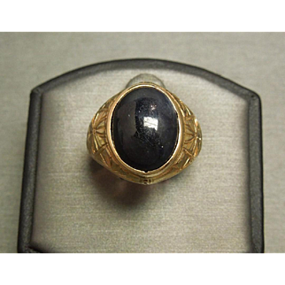 Unisex / Men's C1940 Egyptian Engraved 18K Gold Star Sapphire Solitaire Ring