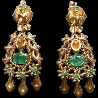 C1940 18K Gold Emerald Chandelier Statement Earrings