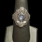 Art Deco C1930 14K White Gold Ceylon Sapphire & Diamond Three Stone Unique Shield Ring