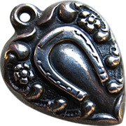 Sterling Lucky Horseshoe Puffy Heart Charm 1940's