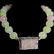 Art Deco Jade+Quartz+Seed Pearls Sterling Necklace