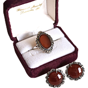 Deco Carnelian+Marcasite Sterling Ring+Earrings