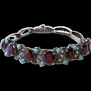 Victorian Garnets, Turquoise, White Topaz, Sterling Bracelet